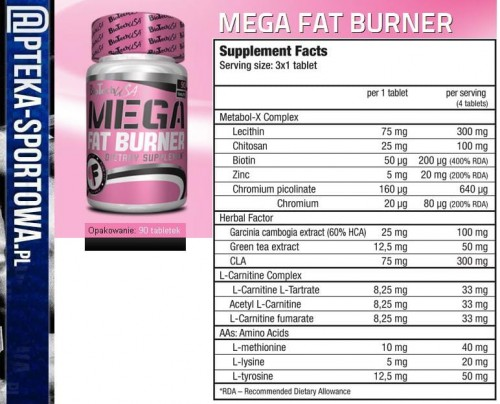 bio tech Mega Fat Burner - 90 tabl BIO TECH